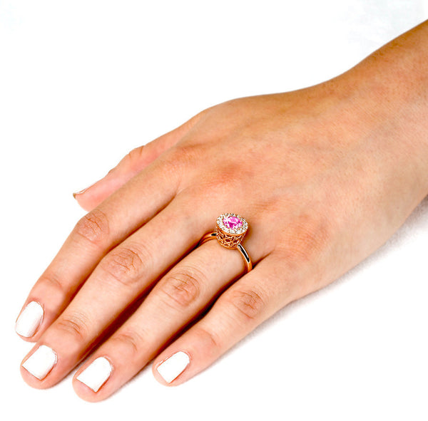 Tall Merlot® (Pink Sapphire with Diamonds) - Dafina Jewelry - 5
