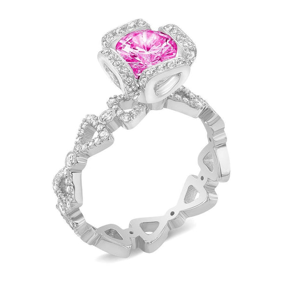 Ribbon II (Pink Sapphire with Diamonds) - Dafina Jewelry - 1