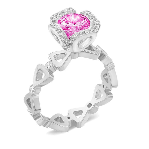 Ribbon I (Pink Sapphire with Diamonds) - Dafina Jewelry - 1
