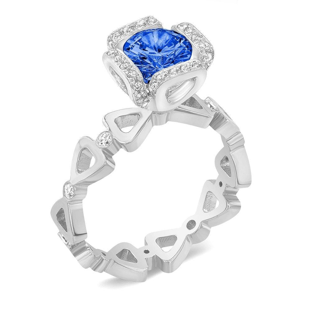 Ribbon I (Blue Sapphire with Diamonds) - Dafina Jewelry - 1