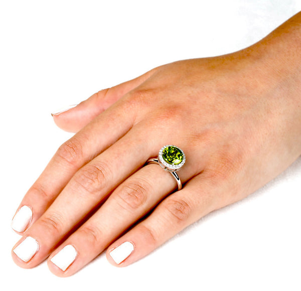 Round Peridot Allure (14K Gold with Diamonds and Peridot) - Dafina Jewelry - 3