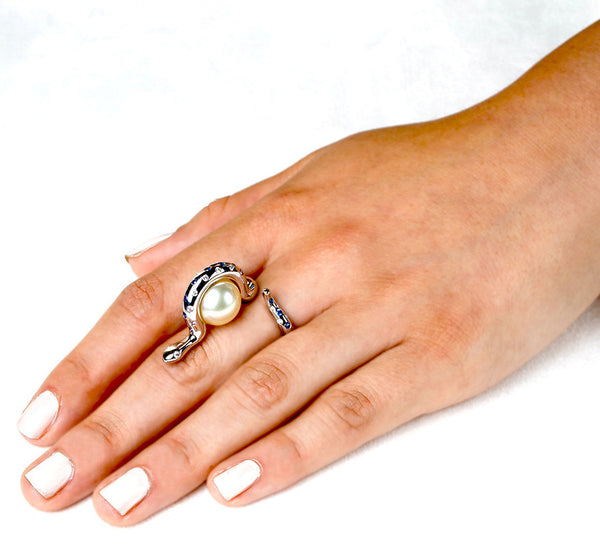Snake Ring (14K Gold with Diamonds, Sapphires, and Pearl) - Dafina Jewelry - 3