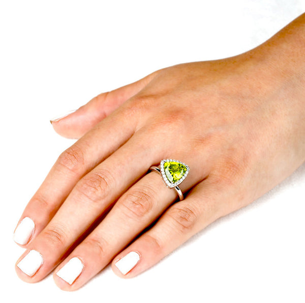Triangle Peridot Allure (14K Gold with Diamonds and Peridot) - Dafina Jewelry - 3