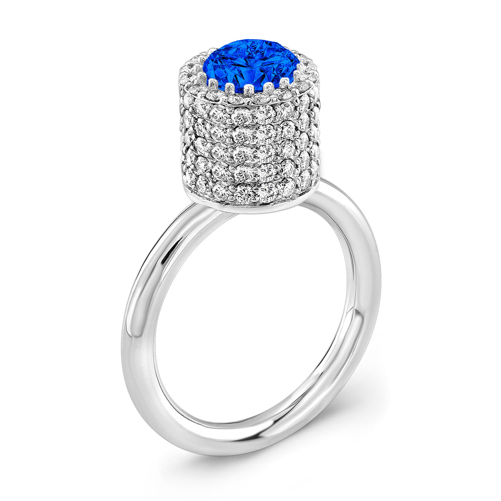 Tall Ultra Brilliant (Blue Sapphire with Diamonds) - Dafina Jewelry - 1