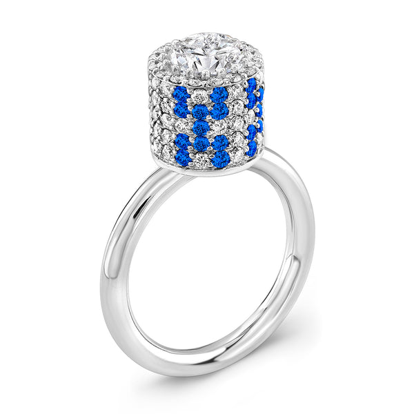Tall Ultra Brilliant (Diamond with Blue Sapphires) - Dafina Jewelry - 1