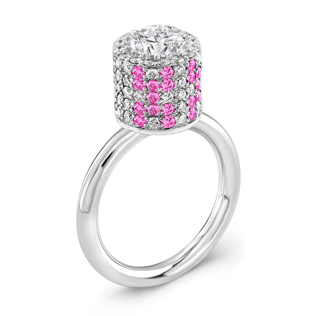 Tall Ultra Brilliant (Diamond with Pink Sapphires) - Dafina Jewelry - 1