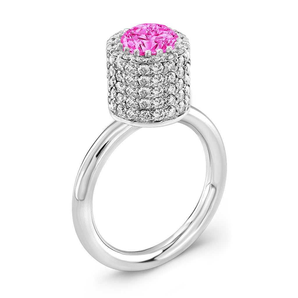 Tall Ultra Brilliant (Pink Sapphire with Diamonds) - Dafina Jewelry - 1