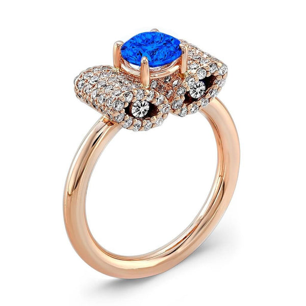 Ultra Light Trap (Blue Sapphire with Diamonds) - Dafina Jewelry - 3