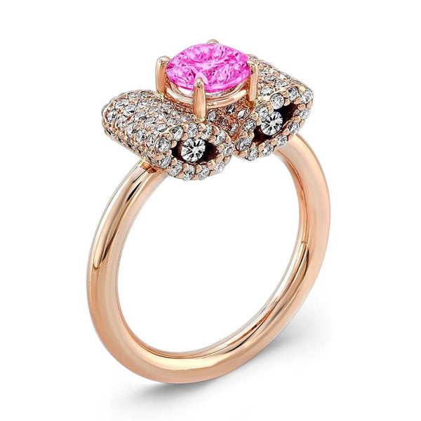 Ultra Light Trap (Pink Sapphire with Diamonds) - Dafina Jewelry - 3