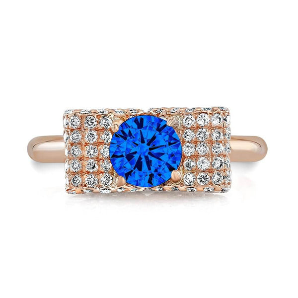 Ultra Light Trap (Blue Sapphire with Diamonds) - Dafina Jewelry - 4