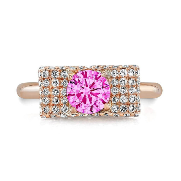 Ultra Light Trap (Pink Sapphire with Diamonds) - Dafina Jewelry - 2