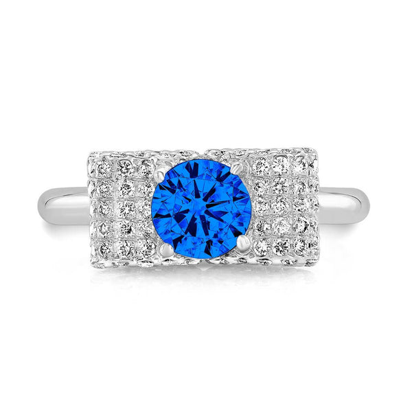 Ultra Light Trap (Blue Sapphire with Diamonds) - Dafina Jewelry - 2