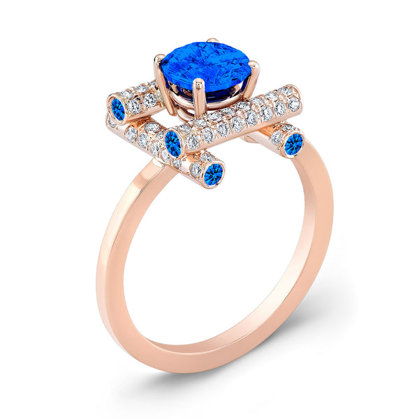 Ultra Love Fire (All Blue Sapphires) - Dafina Jewelry - 3