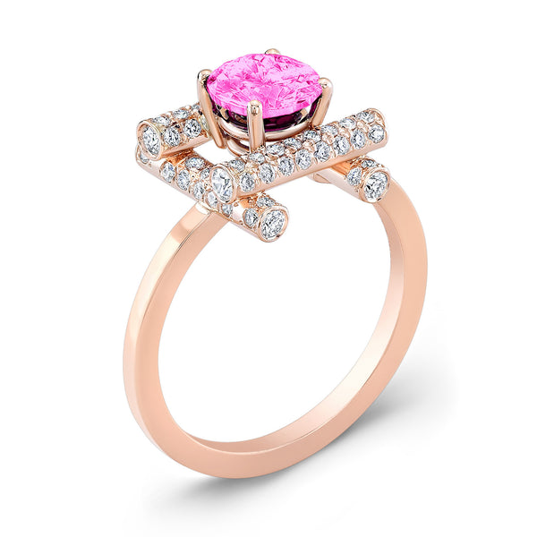 Ultra Love Fire (Pink Sapphire with Diamonds) - Dafina Jewelry - 3