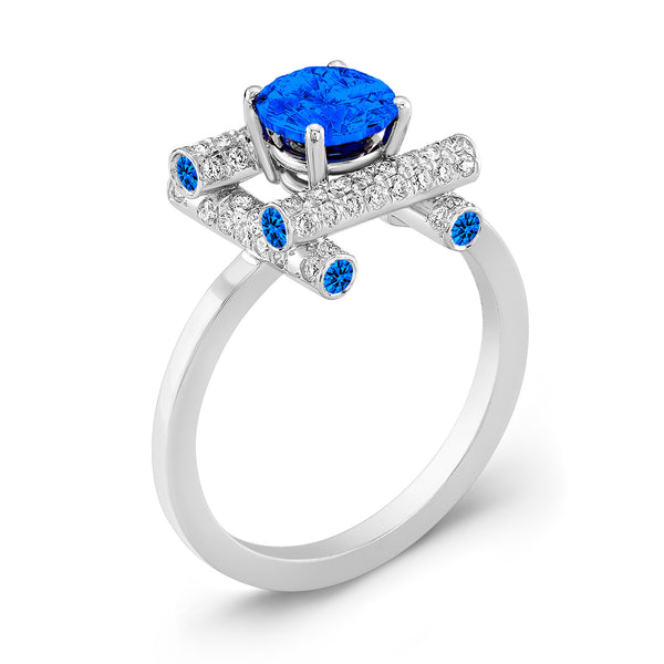 Ultra Love Fire (All Blue Sapphires) - Dafina Jewelry - 1