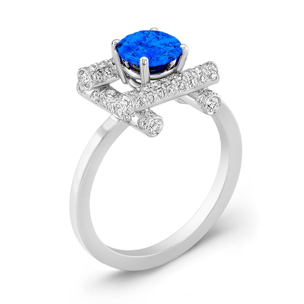 Ultra Love Fire (Blue Sapphire with Diamonds) - Dafina Jewelry - 1
