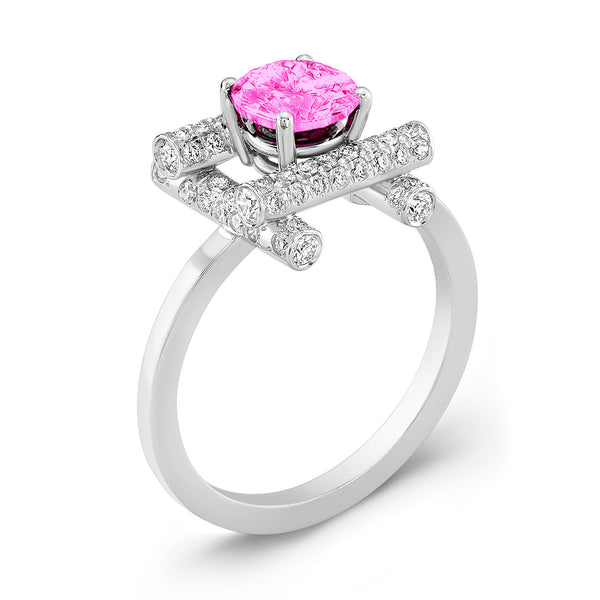 Ultra Love Fire (Pink Sapphire with Diamonds) - Dafina Jewelry - 1