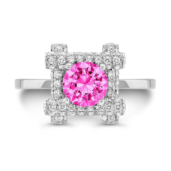 Ultra Love Fire (Pink Sapphire with Diamonds) - Dafina Jewelry - 2