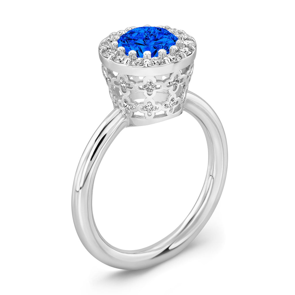 Tall Ultra Merlot® (Blue Sapphire with Diamonds) - Dafina Jewelry - 1