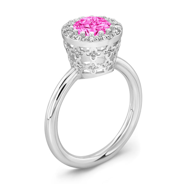 Tall Ultra Merlot® (Pink Sapphire with Diamonds) - Dafina Jewelry - 1