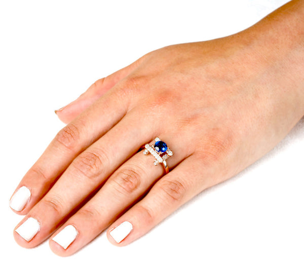 Ultra Love Fire (All Blue Sapphires) - Dafina Jewelry - 5