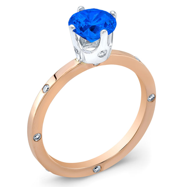 OM (Blue Sapphire with Diamonds) - Dafina Jewelry - 3