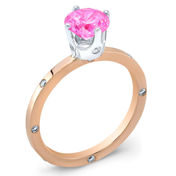 OM (Pink Sapphire with Diamonds) - Dafina Jewelry - 3