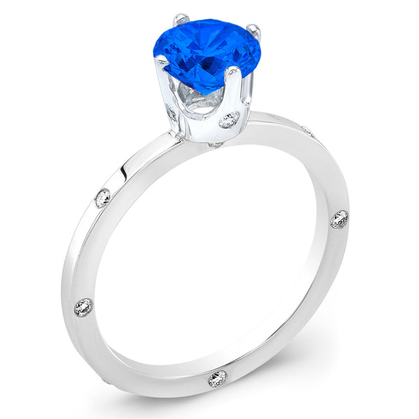 OM (Blue Sapphire with Diamonds) - Dafina Jewelry - 1