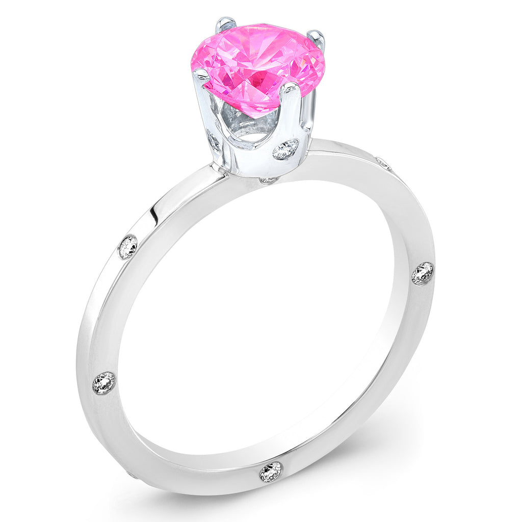 OM (Pink Sapphire with Diamonds) - Dafina Jewelry - 1