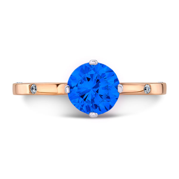 OM (Blue Sapphire with Diamonds) - Dafina Jewelry - 4