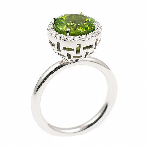 Round Peridot Allure (14K Gold with Diamonds and Peridot) - Dafina Jewelry - 1