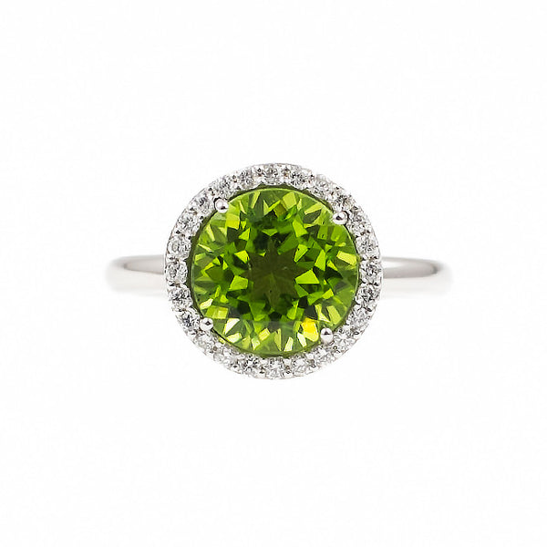 Round Peridot Allure (14K Gold with Diamonds and Peridot) - Dafina Jewelry - 2