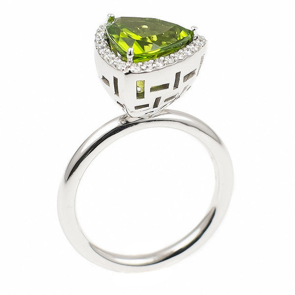 Triangle Peridot Allure (14K Gold with Diamonds and Peridot) - Dafina Jewelry - 1