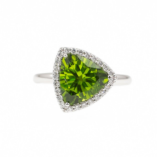 Triangle Peridot Allure (14K Gold with Diamonds and Peridot) - Dafina Jewelry - 2