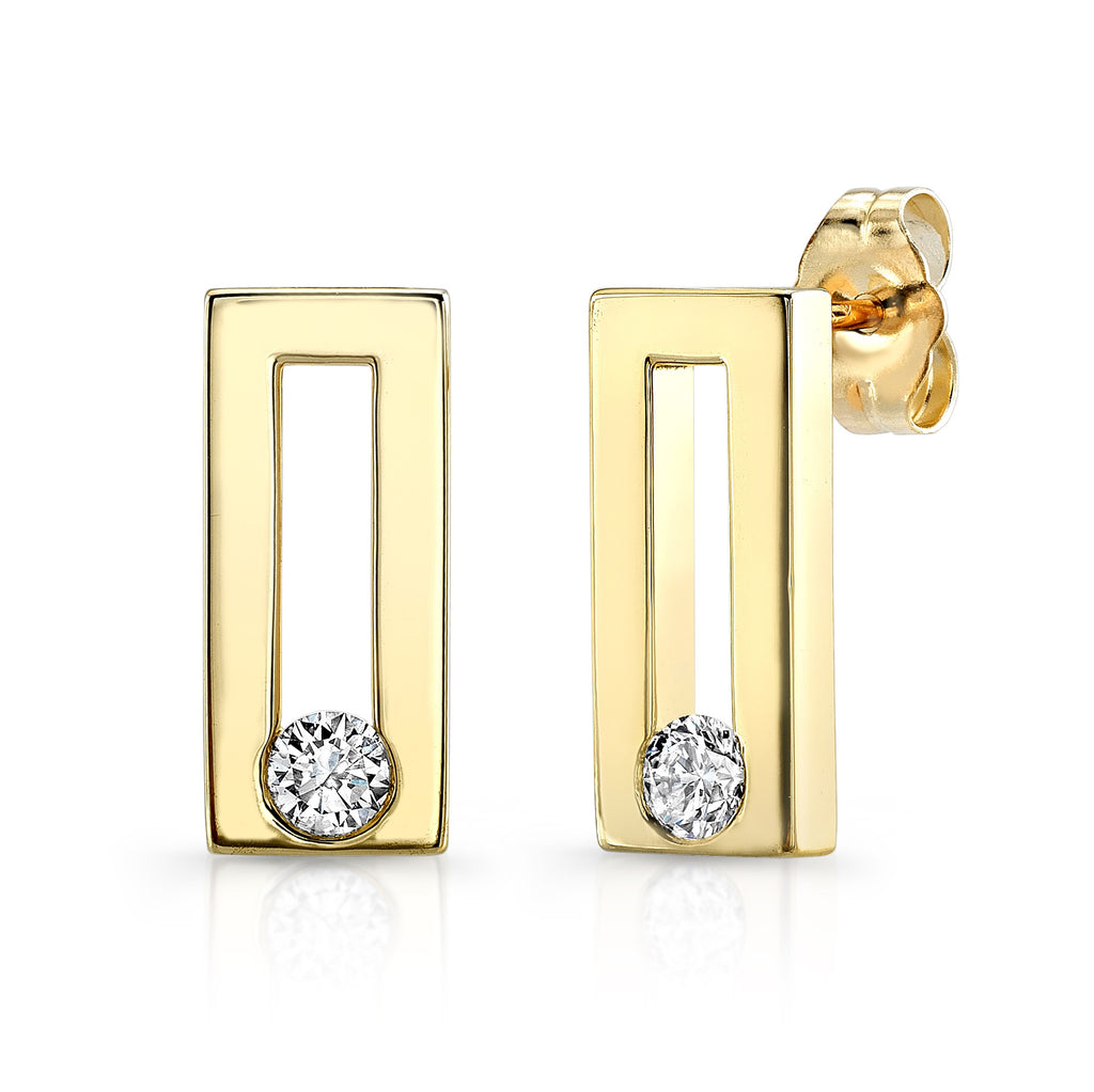 Dafina Classic Studs (14K Gold with Diamonds) - Dafina Jewelry - 1