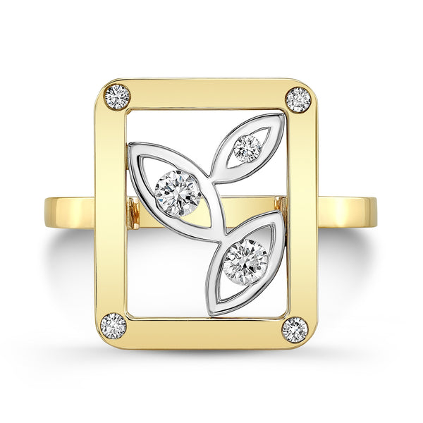 Madison Flower Ring (14K Gold with Diamonds) - Dafina Jewelry - 2