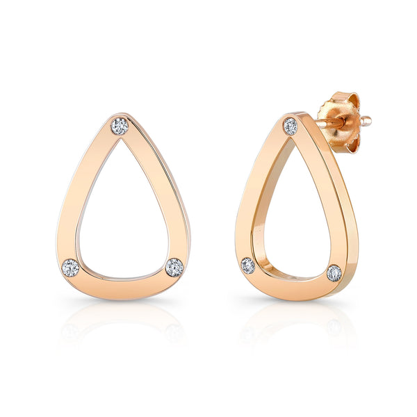 Dafina Pear Studs (14K Gold with Diamonds) - Dafina Jewelry - 1
