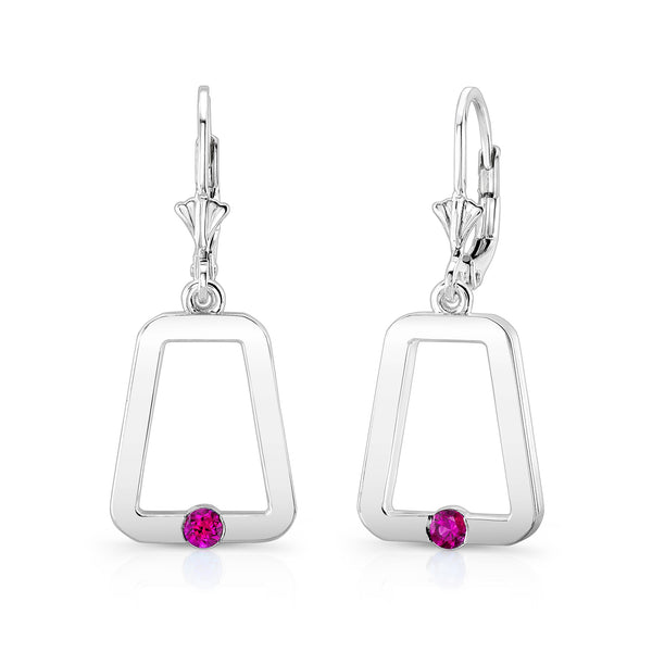 Monique Earrings (Sterling silver with Pink Sapphires) - Dafina Jewelry - 1