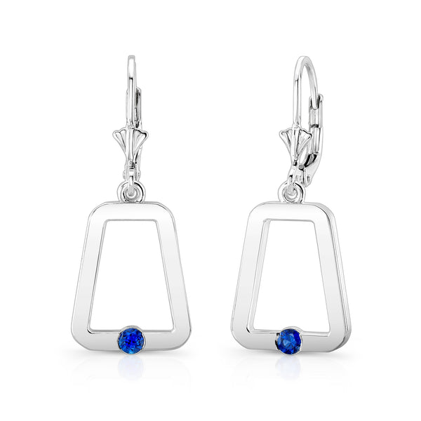 Monique Earrings (Sterling silver with Blue Sapphires) - Dafina Jewelry - 1