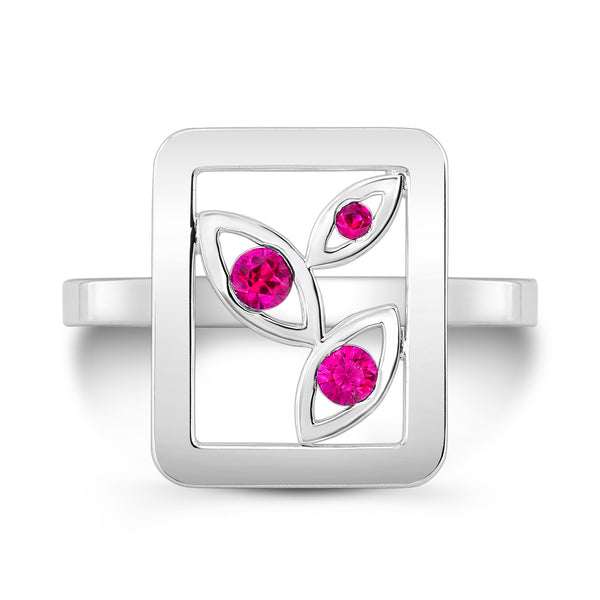 Madison Flower Ring (Sterling silver with Pink Sapphires) - Dafina Jewelry - 2