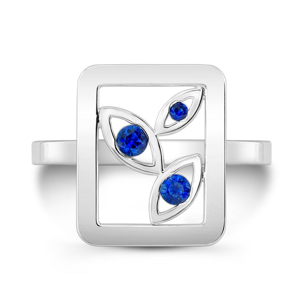 Madison Flower Ring (Sterling silver with Blue Sapphires) - Dafina Jewelry - 2