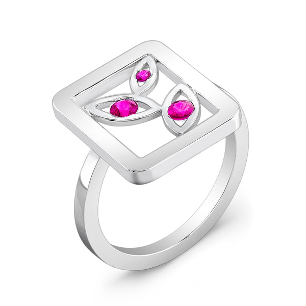 Madison Flower Ring (Sterling silver with Pink Sapphires) - Dafina Jewelry - 1
