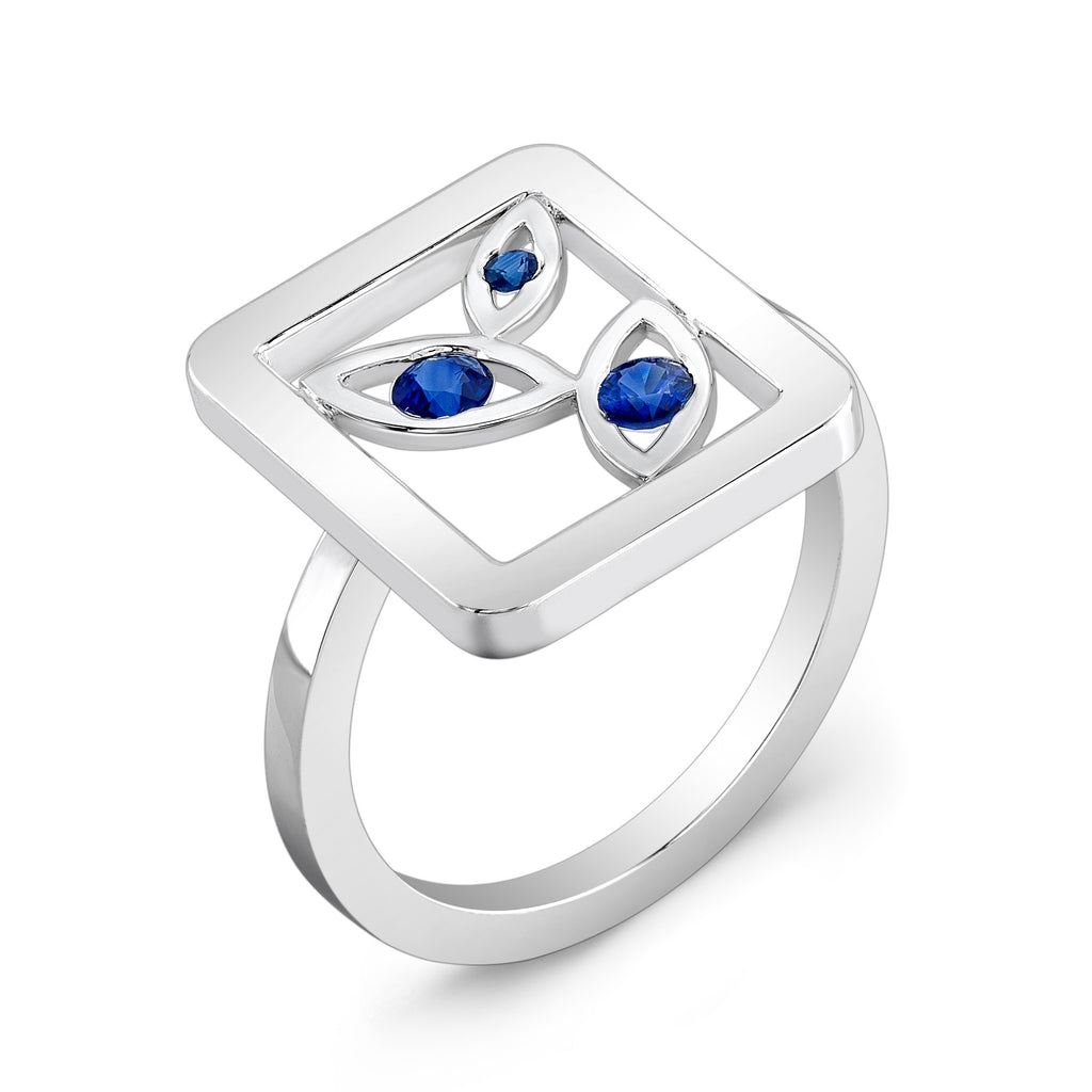 Madison Flower Ring (Sterling silver with Blue Sapphires) - Dafina Jewelry - 1