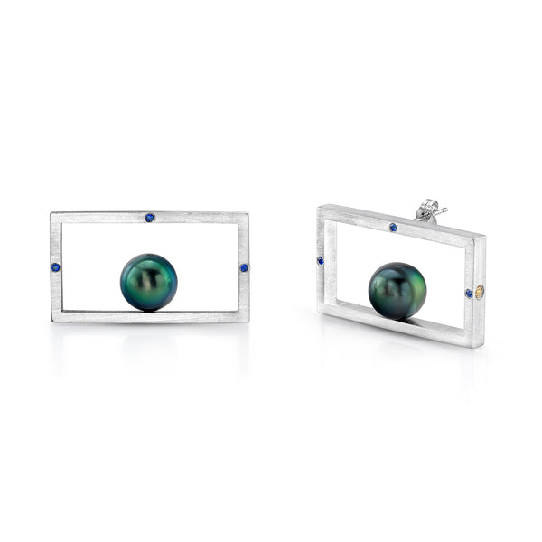 Pearl Frame Earrings (Sterling silver with Pearl and Sapphires) - Dafina Jewelry - 1