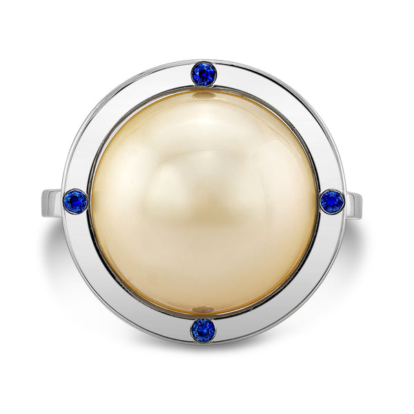 Globe Ring (14K Gold with Sapphires) - Dafina Jewelry - 2