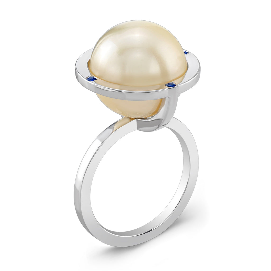 Globe Ring (14K Gold with Sapphires) - Dafina Jewelry - 1