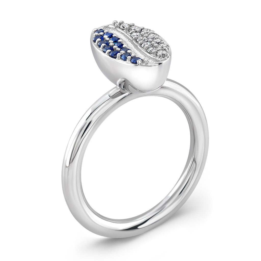 Bean Ring (14K Gold with Diamonds and Sapphires) - Dafina Jewelry