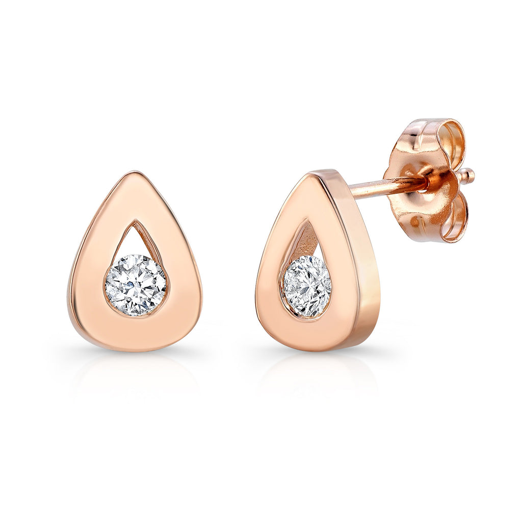 Seed Studs (14K Gold with Diamonds) - Dafina Jewelry - 1