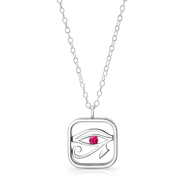 Eye of Horus (Sterling silver with Pink Sapphire) - Dafina Jewelry - 1