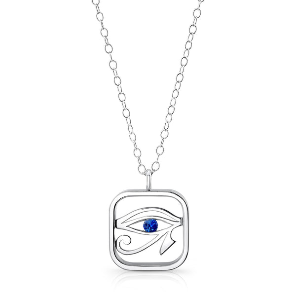 Eye of Horus (Sterling silver with Blue Sapphire) - Dafina Jewelry - 1